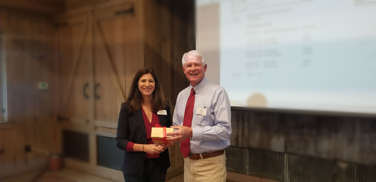 Shannon Dacus Presents Life Patron Award to Jack Swallow